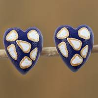 Wood button earrings, 'Lively Love' - Blue with White and Golden Accent Heart Button Earrings