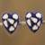 Wood button earrings, 'Lively Love' - Blue with White and Golden Accent Heart Button Earrings thumbail