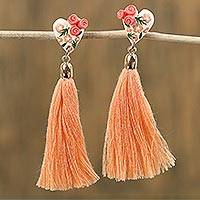 Gold accented porcelain dangle earrings, 'Love to Dance' - Salmon and White Floral Ceramic Heart Dangle Tassel Earrings