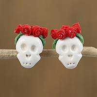 Cold porcelain button earrings, 'Sugar Skulls in Red' - White Skull Red Rose Crown Cold Porcelain Button Earrings