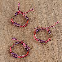 Cotton braided wristband bracelets, 'Artisan Love' (set of 3) - Colorful Braided Cotton Bracelets (3) from Mexico