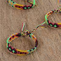 Cotton braided wristband bracelets, 'In Tuscany' (set of 3) - Vibrant Braided Cotton Bracelets (3) from Mexico