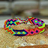 Cotton braided wristband bracelets, 'Delight of the Universe' (set of 3) - Multicolored Cotton Wristband Bracelets (Set of 3)