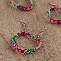 Cotton braided wristband bracelets, 'Festival Colors' (set of 3) - Colorful Cotton Wristband Brtacelets (Set of 3) from Mexico