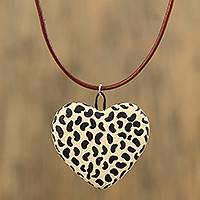 Ceramic pendant necklace, 'Jaguar Heart' - Hand-Painted Ceramic Jaguar Heart Necklace from Mexico