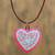 Ceramic pendant necklace, 'Passionate Heart' - Hand-Painted Ceramic Heart Necklace from Mexico thumbail