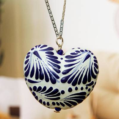 Ceramic pendant necklace, 'Heart of Mexico' - Hand Painted Ceramic Heart Pendant Necklace from Mexico