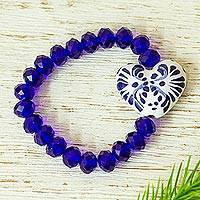 Ceramic and crystal beaded stretch bracelet, 'Celestial Delight' - Ceramic and Crystal Heart Beaded Bracelet from Mexico