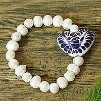 Cultured pearl and ceramic beaded stretch bracelet, 'Ethereal Delight' - Ceramic and Pearl Heart Beaded Stretch Bracelet from Mexico