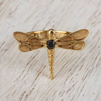 Gold plated garnet cocktail ring, 'Gleaming Dragonfly' - 14 Gold Plated Dragonfly Garnet Ring from Mexico