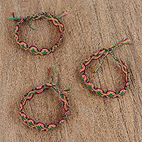 Cotton braided wristband bracelets, 'Colors of the Serpent' (set of 3) - Vibrant Cotton Wristband Bracelets (Set of 3) from Mexico