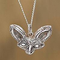 Sterling silver pendant necklace, 'Zorro' - Sterling Silver Fox Pendant Necklace from Mexico