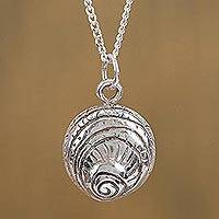 Sterling silver pendant necklace, 'Conch' - Sterling Silver Conch Shell Pendant Necklace from Mexico