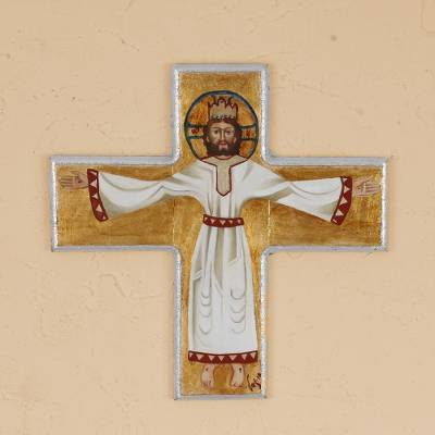 Reclaimed pinewood wall cross, Glorious Christ