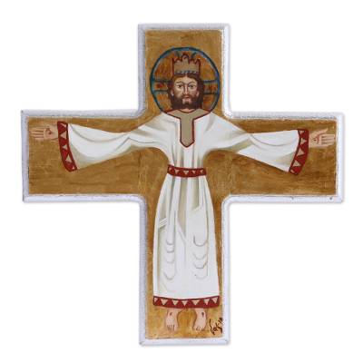 Byzantine Style Hand Painted Christ on Reclaimed Wood Cross