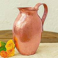 Copper decorative pitcher, 'Timeless Aura' - Handcrafted Hammered Copper Decorative Pitcher from Mexico