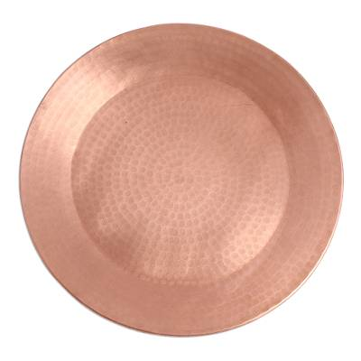Handcrafted Hammered Copper Decorative Plate from Mexico