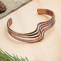 Copper cuff bracelet, 'Brilliant Waves' - Handcrafted Copper Cuff Bracelet from Mexico