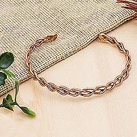 Copper cuff bracelet, 'Brilliant Braid' - Handcrafted Braided Copper Cuff Bracelet from Mexico