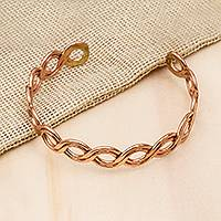 Copper cuff bracelet, 'Brilliant Beauty' - Weave Motif Copper Cuff Bracelet from Mexico