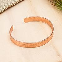 Copper cuff bracelet, 'Brilliant Gleam' - High-Polish Copper Cuff Bracelet from Mexico