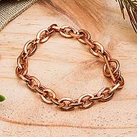 Copper chain bracelet, 'Bright Attachment' - Handcrafted Copper Cable Chain Bracelet from Mexico