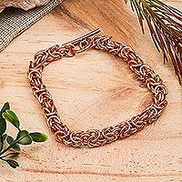Copper chain bracelet, 'Bright Creativity' - Handcrafted Copper Byzantine Chain Bracelet from Mexico