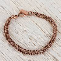 Copper chain bracelet, 'Bright Inspiration' - Handcrafted Copper Braided Chain Bracelet from Mexico