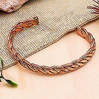 Copper cuff bracelet, 'Brilliant Bond' - Handcrafted Braided Copper Cuff Bracelet from Mexico