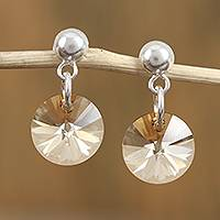 Swarovski crystal dangle earrings, 'Sun Beams' - Swarovski Crystal and Sterling Silver Dangle Earrings