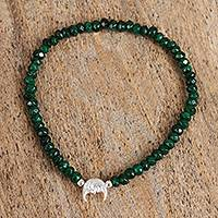 Agate beaded stretch bracelet, 'Moon Fantasy' - Green Agate and Sterling Silver Beaded Stretch Bracelet