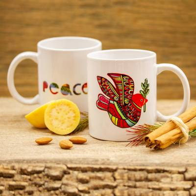 Ceramic mug, 'Red Dove' - Ceramic Mug with a Hand-Painted Red Dove from Mexico