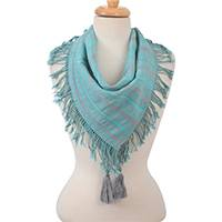 Cotton scarf, 'Lovely Treasure' - Striped Cotton Scarf in Ash and Turquoise from Mexico