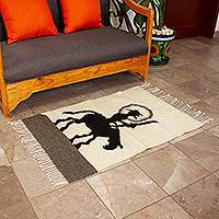 Wool area rug, 'Don Quijote' (2x3.5) - Handwoven Wool Don Quijote Area Rug (2x3.5) from Mexico