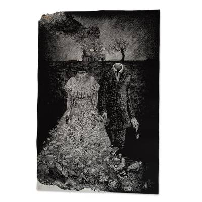 Print, 'Fire and Sea' (2017) - Signed Black and White Surrealist Print from Mexico (2017)