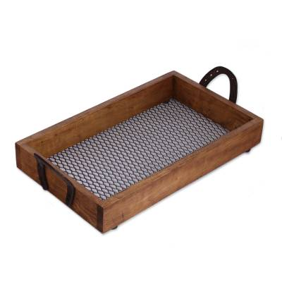 Pinewood Tray with Upcycled Iron Horseshoe Handles
