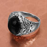 Obsidian cocktail ring, 'Lava Waves' - Black Obsidian Cocktail Ring from Mexico