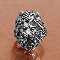 Men's sterling silver ring, 'Fierce Lion' - Men's Sterling Silver Lion Ring from Mexico