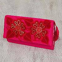 Cotton clutch, 'China Rose' - Floral Embroidered Cotton Clutch in Red from Mexico