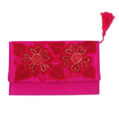 Floral Embroidered Cotton Clutch in Red from Mexico