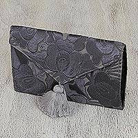Cotton clutch, 'Grey Petals' - Floral Embroidered Cotton Clutch in Grey from Mexico
