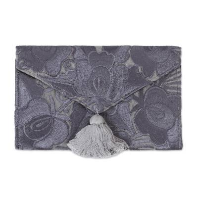 Floral Embroidered Cotton Clutch in Grey from Mexico