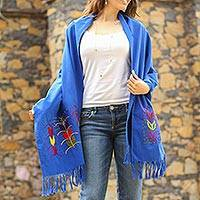 Cotton shawl, 'Maize in Blue' - Blue Hand Embroidered Multicolor Maize Motif Cotton Shawl