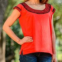 Cotton blouse, 'Country Air in Red' - Red Cotton Cap Sleeve Blouse Hand Embroidered in Black