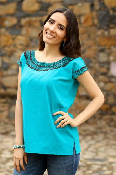 Cotton blouse, 'Country Air in Teal' - Teal Cotton Cap Sleeve Blouse Hand Embroidered in Black