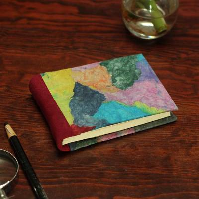 Recycled paper journal, 'Colorful Collage' - Multicolored Recycled Paper Journal from Mexico