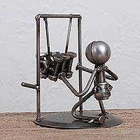 Upcycled metal auto part sculpture, 'Mechanic' - Upcycled Metal Auto Part Mechanic Sculpture from Mexico