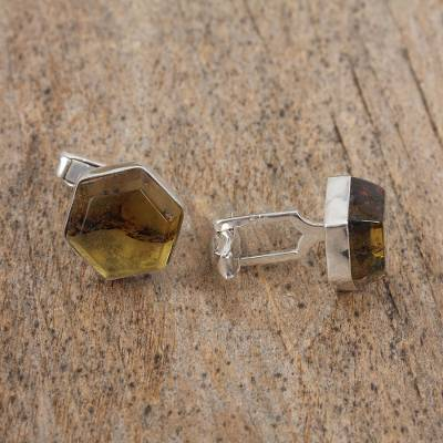 Amber cufflinks, 'Golden Hexagons' - Handcrafted Amber and Sterling Silver Hexagon Cufflinks