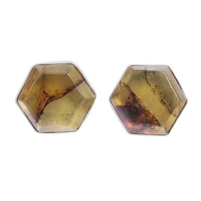 Handcrafted Amber and Sterling Silver Hexagon Cufflinks