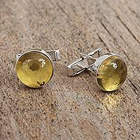 Amber cufflinks, 'Golden Pools' - Handcrafted Round Amber and Sterling Silver Cufflinks
